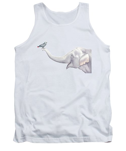 Tank Top featuring the painting Elephant And Bird Watercolor by Taylan Apukovska