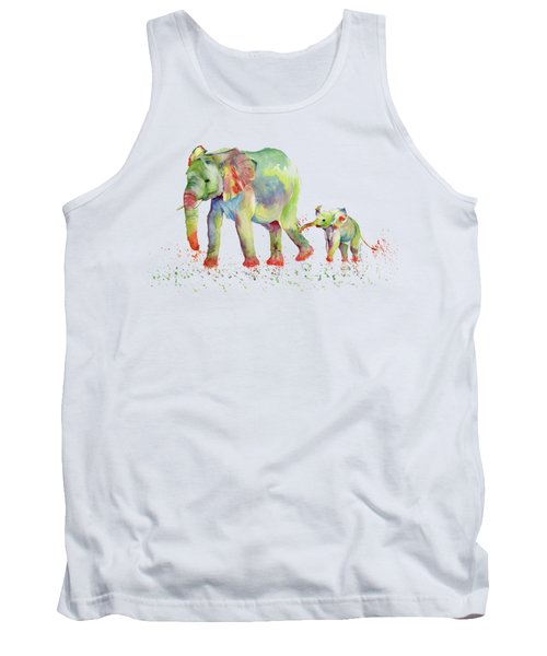 Elephant Family Watercolor  Tank Top