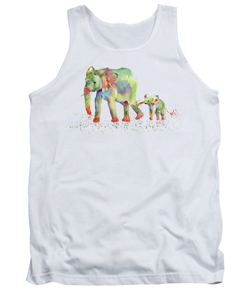Elephant Family Watercolor  Tank Top