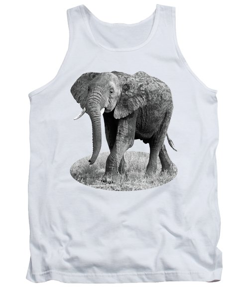 Tank Top featuring the photograph Elephant Happy And Free In Black And White by Gill Billington