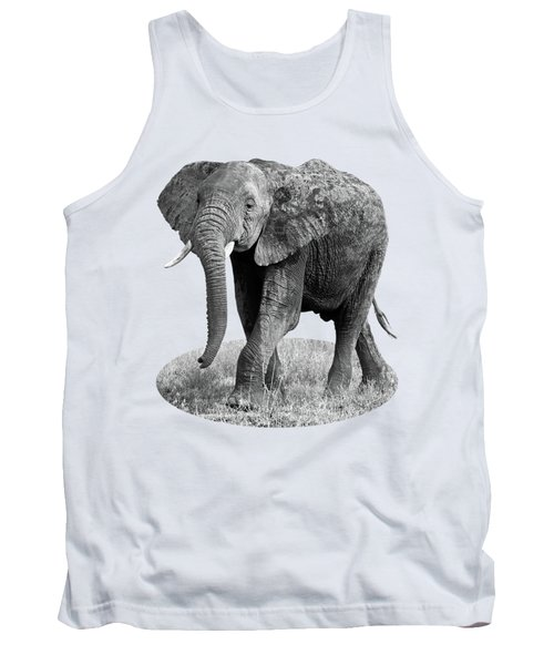 Elephant Happy And Free In Black And White Tank Top