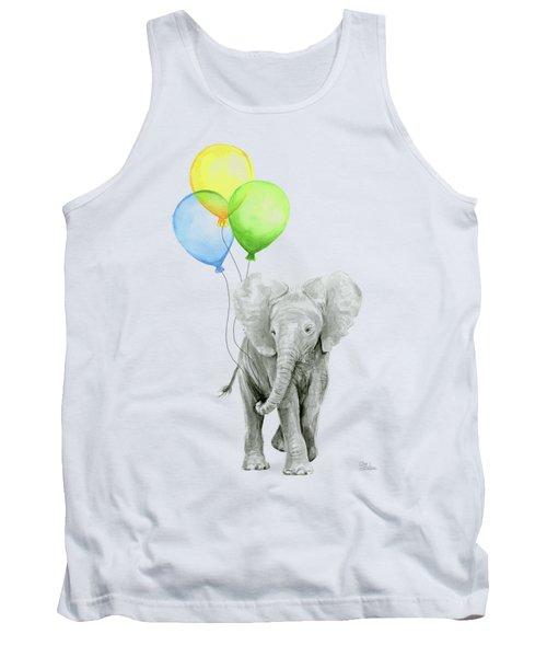 Elephant Watercolor Baby Animal Nursery Art Tank Top