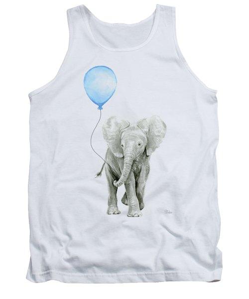 Elephant Watercolor Blue Nursery Art Tank Top