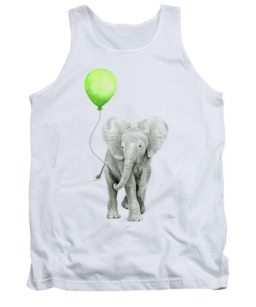 Elephant Watercolor Green Balloon Kids Room Art  Tank Top