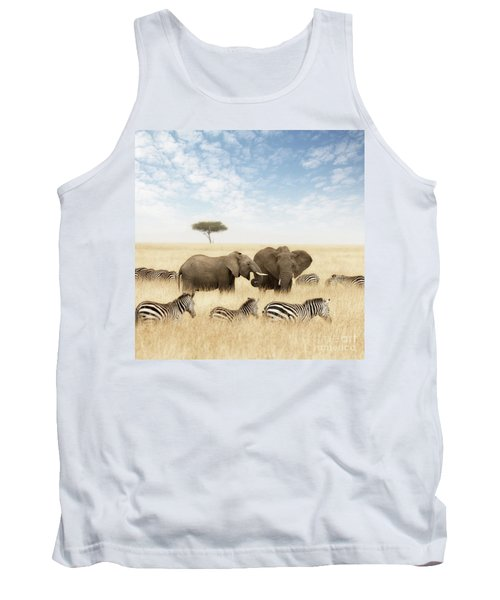 Elephants And Zebras In The Grasslands Of The Masai Mara Tank Top