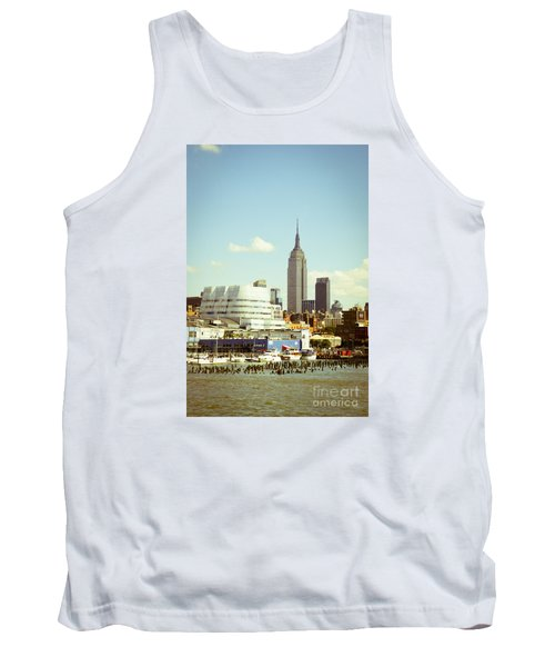 Empire State Building From Hudson Tank Top by Perry Van Munster