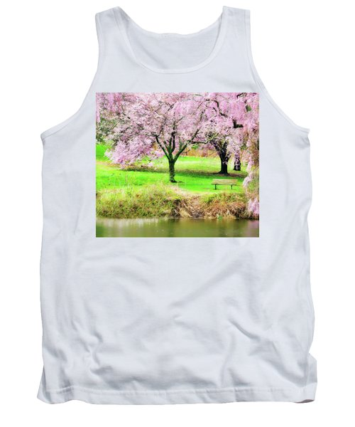 Tank Top featuring the photograph Empty Bench Surrounded By Spring Colors by Gary Slawsky