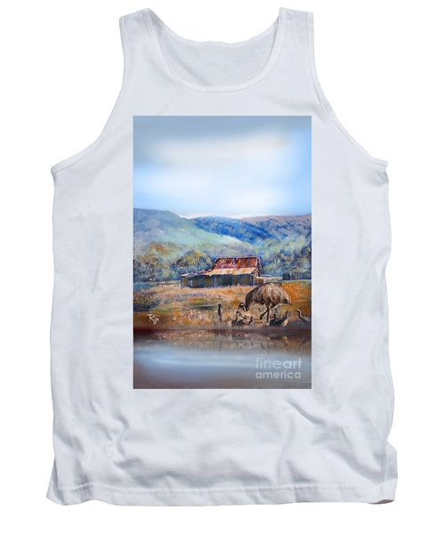 Tank Top featuring the painting Emu And Chicks, Australian Landscape by Ryn Shell