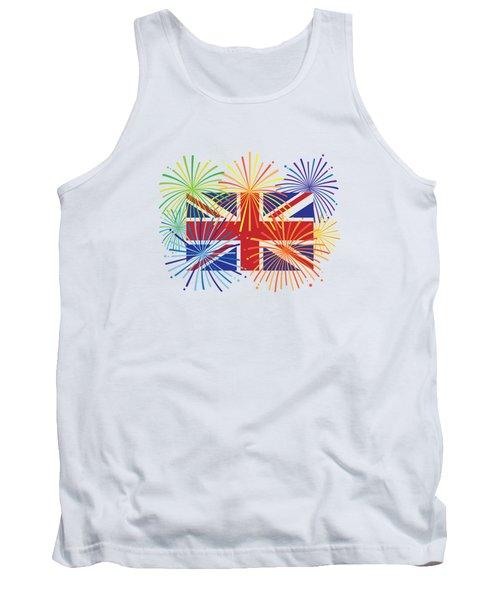 England Jack Union Flag Fireworks Illustrationing Evening Blu Tank Top