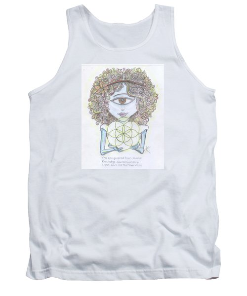 Tank Top featuring the drawing Enlightened Alien by Similar Alien