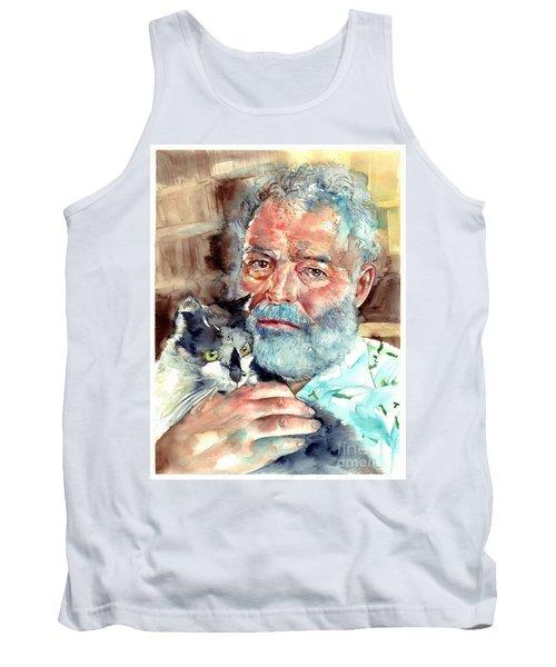 Ernest Hemingway Watercolor Tank Top