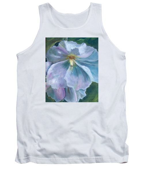 Ethereal White Hollyhock Tank Top by Jane Autry