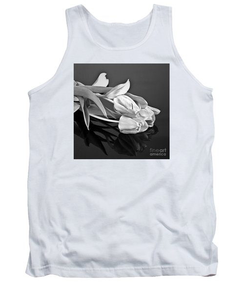 Even Tulips Are Beautiful In Black And White Tank Top by Sherry Hallemeier