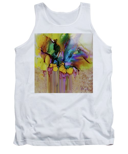 Tank Top featuring the painting Explosion Of Petals by Joanne Smoley