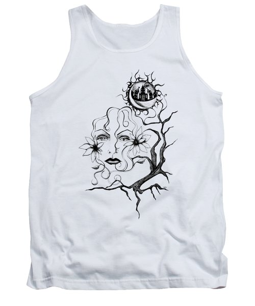 Tank Top featuring the drawing Eye Of The Beholder by Shawna Rowe