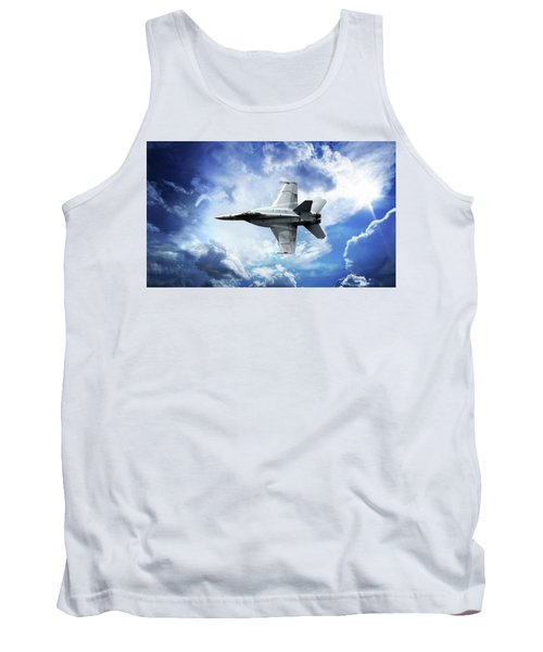Tank Top featuring the photograph F18 Fighter Jet by Aaron Berg