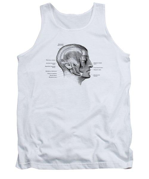 Face Muscular Diagram - Vintage Anatomy Print Tank Top