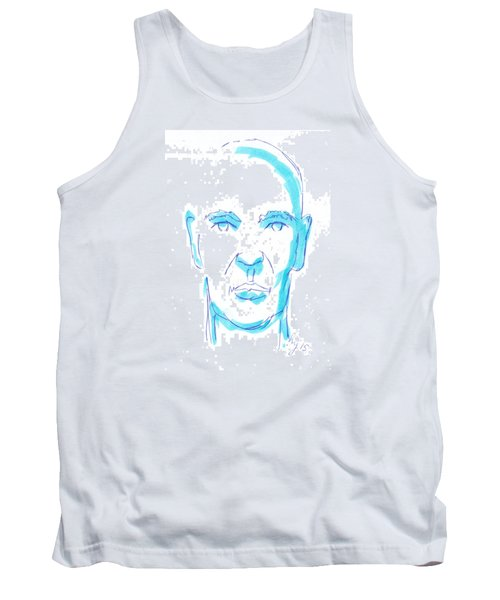 Face Of A Man Illustration - Blue Line Drawing Tank Top