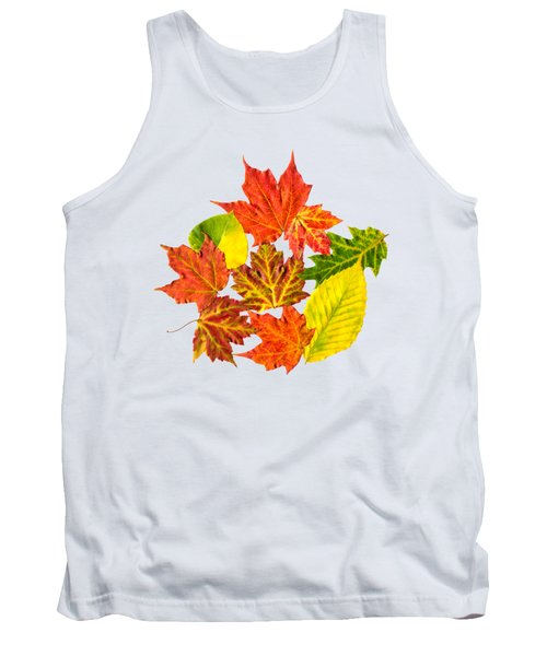 Tank Top featuring the mixed media Fall Leaves Pattern by Christina Rollo