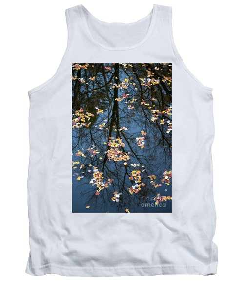 Fallen Leaves In Autumn Lake Tank Top