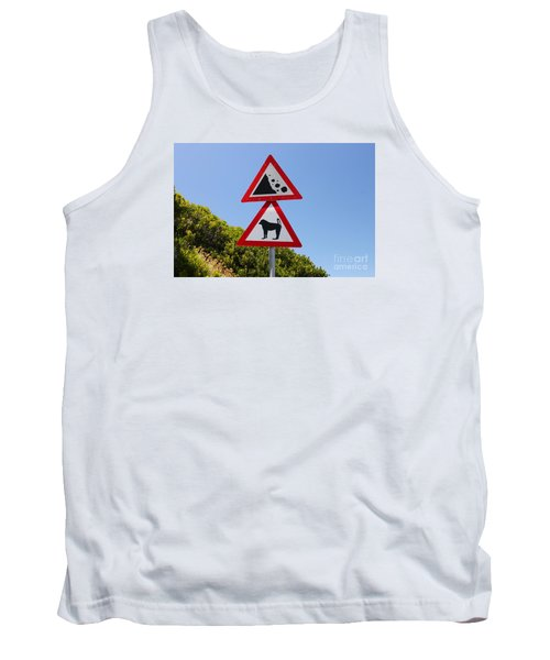 Falling Rocks And Baboons Tank Top by Bev Conover