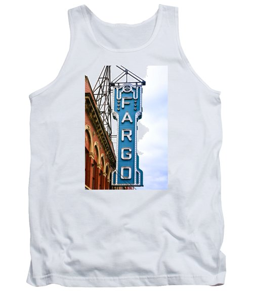 Fargo Blue Theater Sign Tank Top by Chris Smith