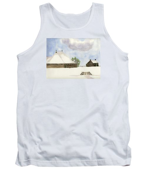 Tank Top featuring the painting Farmhouse In The Snow by Annemeet Hasidi- van der Leij