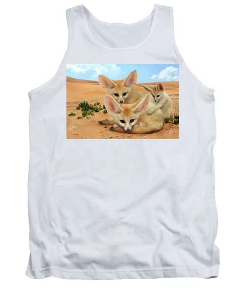 Tank Top featuring the digital art Fennec Foxes by Thanh Thuy Nguyen