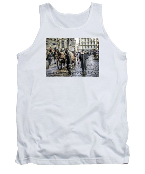Tank Top featuring the photograph Fiakers At Stephansplatz, Vienna by Brian Tarr