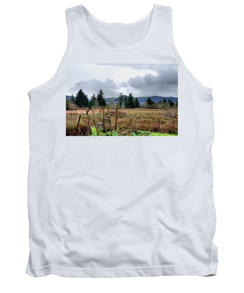 Field, Clouds, Distant Foggy Hills Tank Top