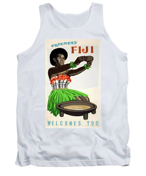 Fiji Restored Vintage Travel Poster Tank Top