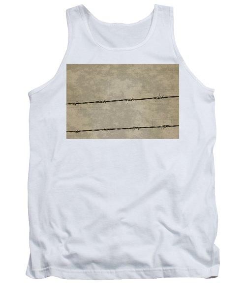 Fine Art Photograph Barbed Wire Over Vintage News Print Breaking Out  Tank Top