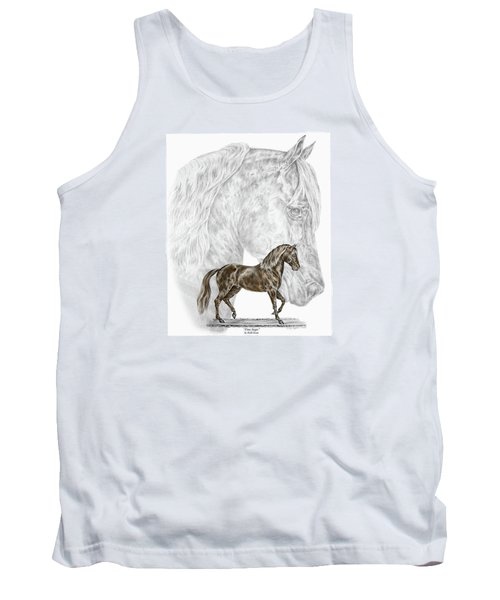 Tank Top featuring the drawing Fine Steps - Paso Fino Horse Print Color Tinted by Kelli Swan