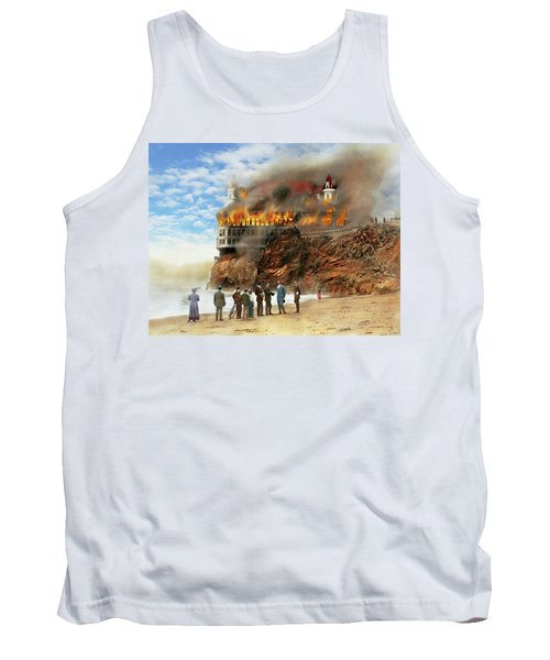 Tank Top featuring the photograph Fire - Cliffside Fire 1907 by Mike Savad