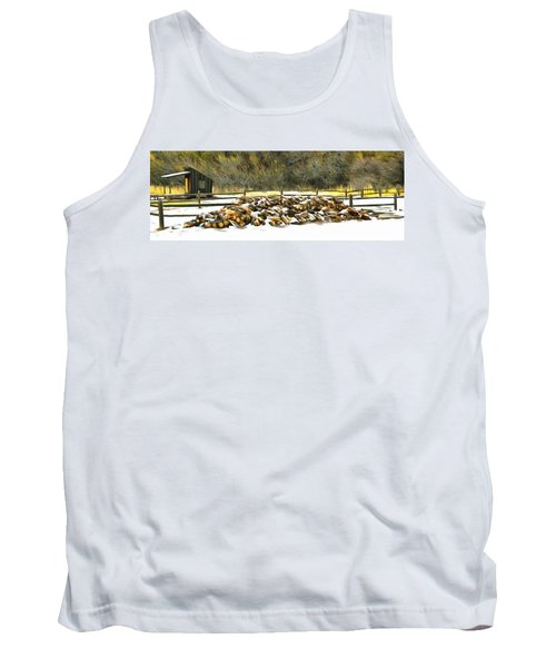 Tank Top featuring the photograph  Floyd Snyder by Firewood in the Snow at Fort Tejon