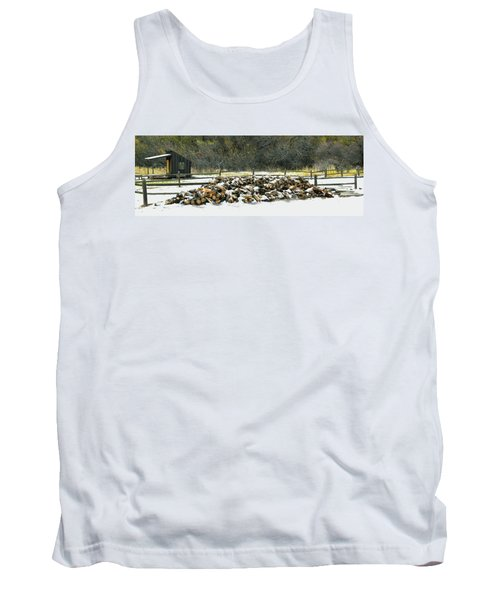 Tank Top featuring the photograph Firewood In The Snow At Fort Tejon by Floyd Snyder