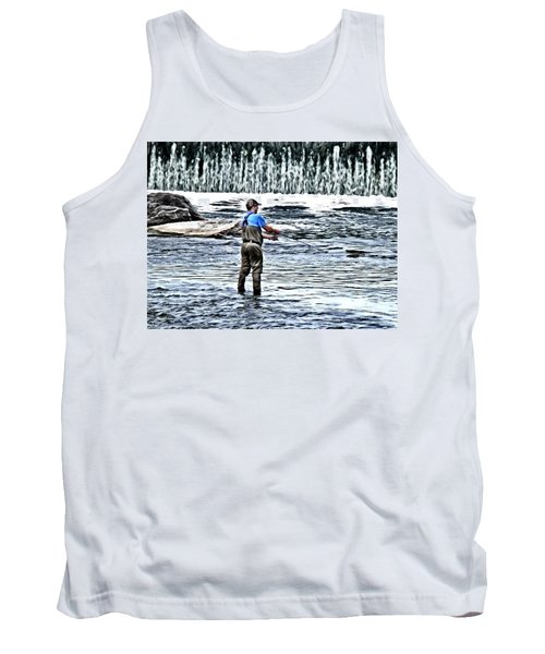 Fisherman On The River Tank Top