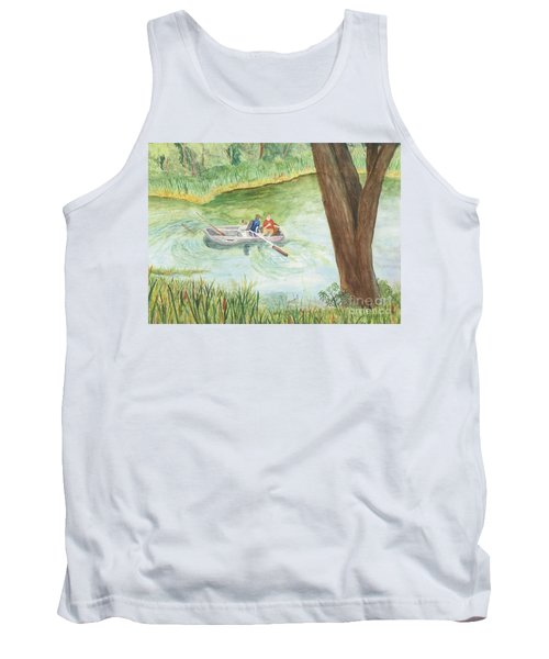 Tank Top featuring the painting Fishing Lake Tanko by Vicki  Housel