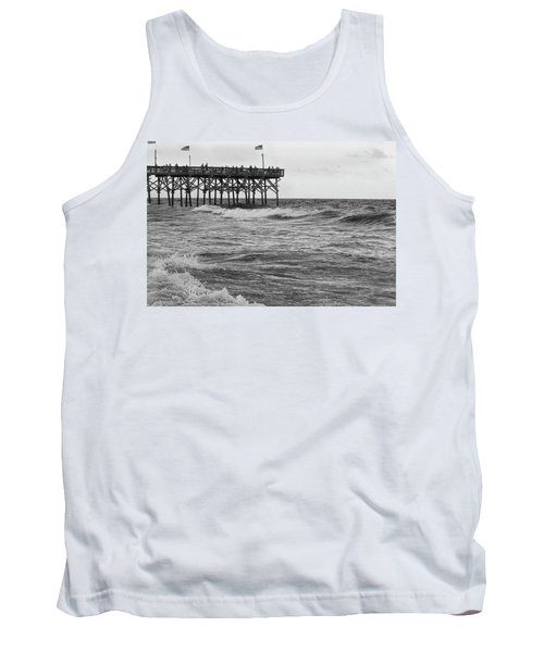 Tank Top featuring the photograph Fishing Off The Pier At Myrtle Beach by Chris Flees