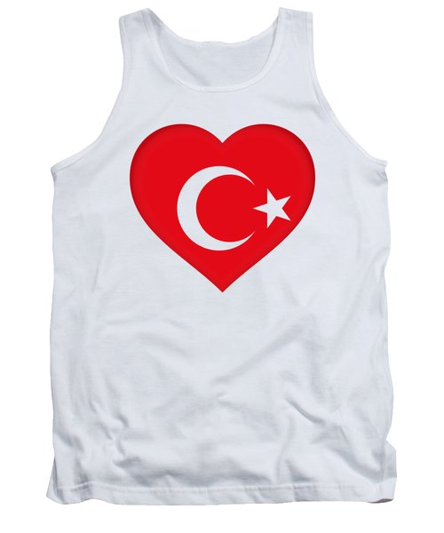 Flag Of Turkey Heart Tank Top