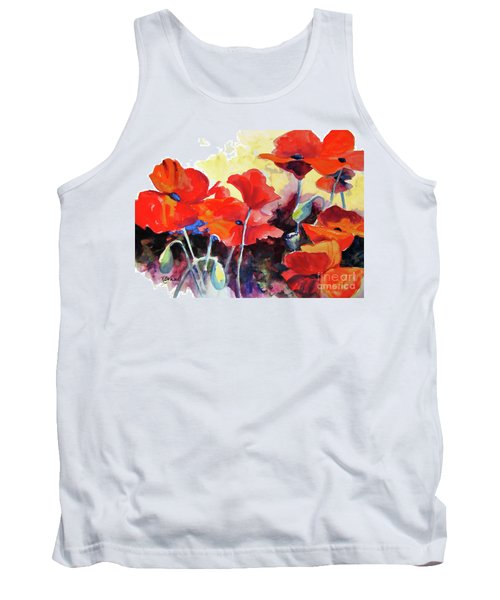 Tank Top featuring the painting Flaming Poppies by Kathy Braud
