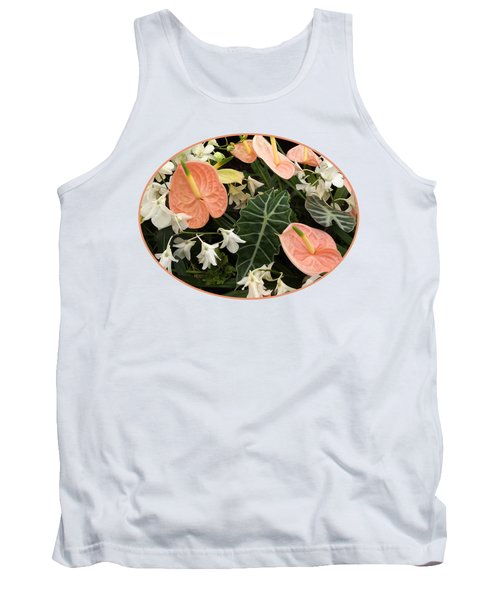 Flamingo Flowers And Orchids Tank Top by Gill Billington
