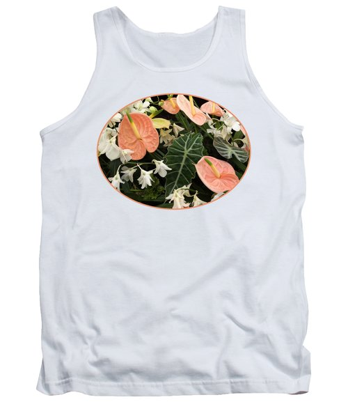 Flamingo Flowers And Orchids Tank Top