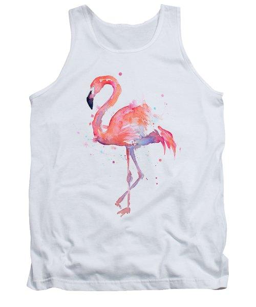 Flamingo Love Watercolor Tank Top by Olga Shvartsur