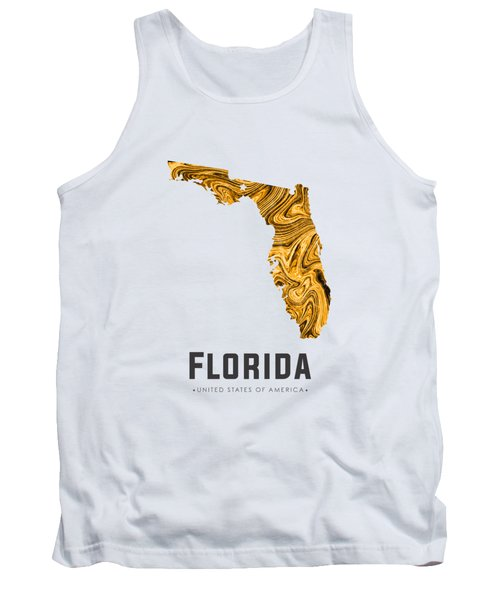 Florida Map Art Abstract In Yellow Gold Tank Top