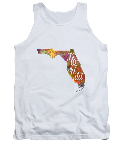 Florida Us State In Watercolor Text Cut Out Tank Top