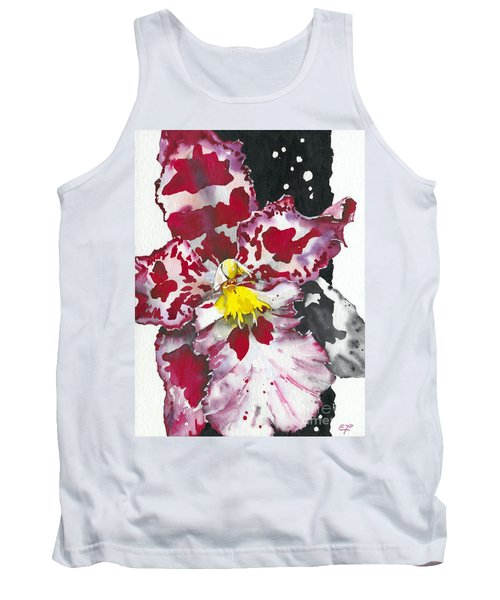 Tank Top featuring the painting Flower Orchid 11 Elena Yakubovich by Elena Yakubovich