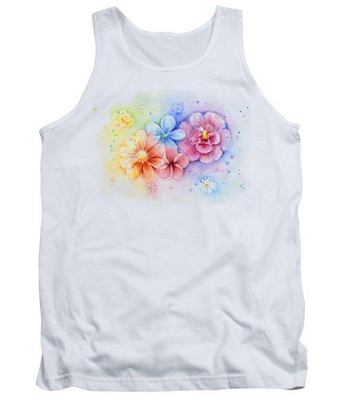 Flower Power Watercolor Tank Top by Olga Shvartsur