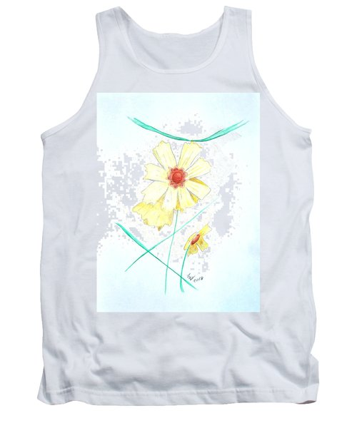 Tank Top featuring the drawing Flower78 by Loretta Nash