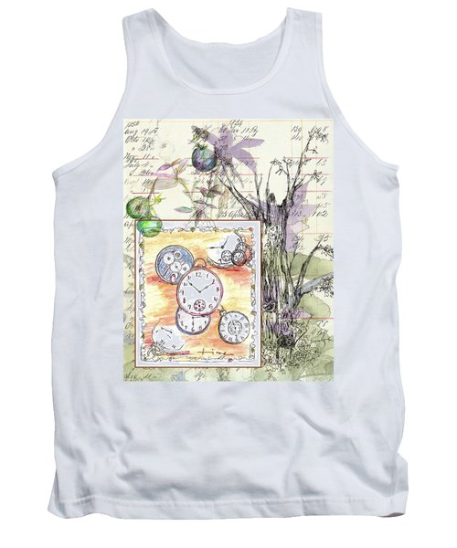 Tank Top featuring the drawing Flowers And Time by Cathie Richardson